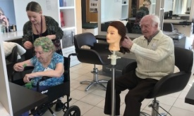 Langley College Hairdressing pass their skills onto residents of Langley Haven Care Home